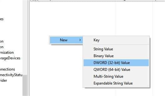 new registry key create